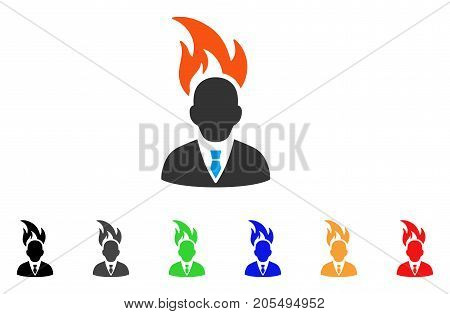 Burn Businessman Head icon. Vector illustration style is a flat iconic burn businessman head symbol with black, gray, green, blue, red, orange color versions. Designed for web and software interfaces.