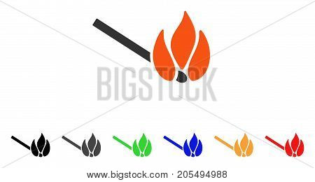 Burn Match icon. Vector illustration style is a flat iconic burn match symbol with black, grey, green, blue, red, orange color versions. Designed for web and software interfaces.