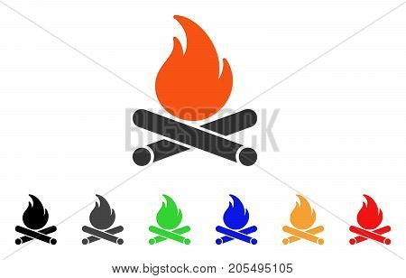 Campfire icon. Vector illustration style is a flat iconic campfire symbol with black, grey, green, blue, red, orange color variants. Designed for web and software interfaces.