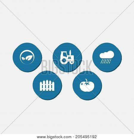 Collection Of Ecology, Wooden Barrier, Cloud And Other Elements.  Set Of 5 Agriculture Icons Set.