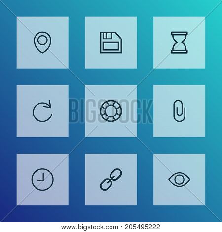 Interface Outline Icons Set. Collection Of Show, Attach, Location And Other Elements