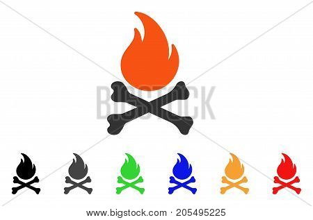 Death Bones Flame icon. Vector illustration style is a flat iconic death bones flame symbol with black, grey, green, blue, red, orange color additional versions.