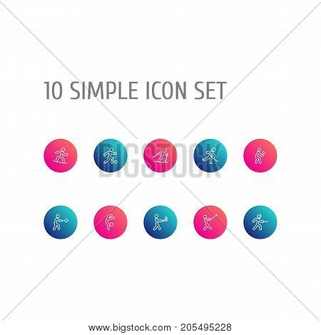 Collection Of Swordplay, Snowboard, Player And Other Elements.  Set Of 10 Athletic Outline Icons Set.