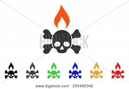 Death Ignition icon. Vector illustration style is a flat iconic death ignition symbol with black, gray, green, blue, red, orange color versions. Designed for web and software interfaces.