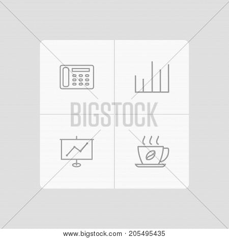 Collection Of Show, Contacts, Chart And Other Elements.  Set Of 4 Bureau Outline Icons Set.