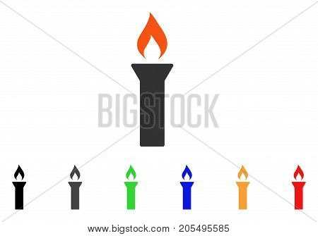 Fire Torch icon. Vector illustration style is a flat iconic fire torch symbol with black, grey, green, blue, red, orange color versions. Designed for web and software interfaces.