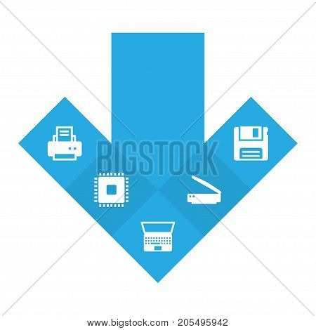 Collection Of Photocopy, Peripheral, Diskette And Other Elements.  Set Of 5 Laptop Icons Set.
