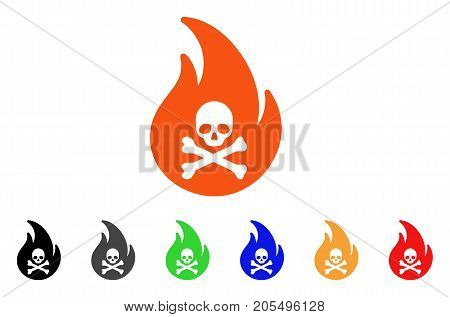 Hell Fire icon. Vector illustration style is a flat iconic hell fire symbol with black, gray, green, blue, red, orange color versions. Designed for web and software interfaces.