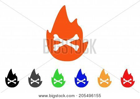 Hellfire Flame icon. Vector illustration style is a flat iconic hellfire flame symbol with black, grey, green, blue, red, orange color versions. Designed for web and software interfaces.