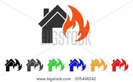 Home Fire Disaster icon. Vector illustration style is a flat iconic home fire disaster symbol with black, gray, green, blue, red, orange color variants. Designed for web and software interfaces.