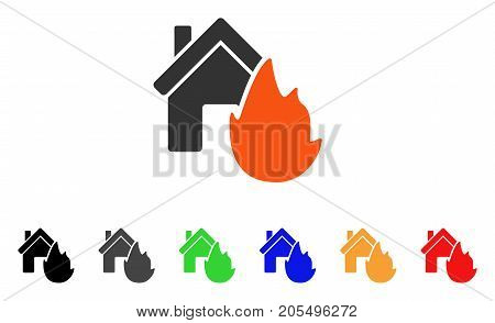House Fire Disaster icon. Vector illustration style is a flat iconic house fire disaster symbol with black, gray, green, blue, red, orange color additional versions.