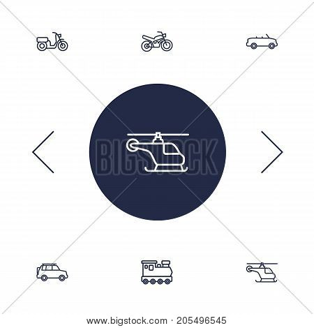 Collection Of Motorcycle, Cabriolet, Helicopter And Other Elements.  Set Of 6 Transport Outline Icons Set.