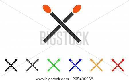 Matches icon. Vector illustration style is a flat iconic matches symbol with black, grey, green, blue, red, orange color variants. Designed for web and software interfaces.