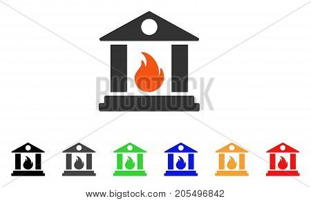 Sacrificial Temple Fire icon. Vector illustration style is a flat iconic sacrificial temple fire symbol with black, gray, green, blue, red, orange color variants.