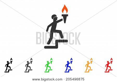 Soldier Climbing With Torch icon. Vector illustration style is a flat iconic soldier climbing with torch symbol with black, grey, green, blue, red, orange color variants.