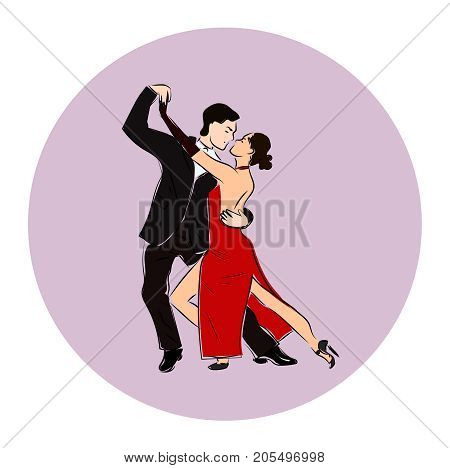 Salsa or argentine tango dancing couple man and woman in vector. International tango day. Vector illustration in circle