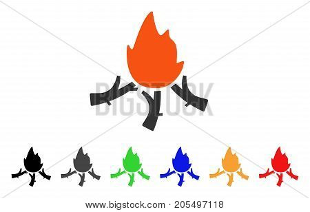Wood Campfire icon. Vector illustration style is a flat iconic wood campfire symbol with black, grey, green, blue, red, orange color variants. Designed for web and software interfaces.