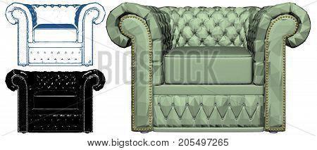 Modern Urban Isolated Illustration Bedroom Armchair Vector