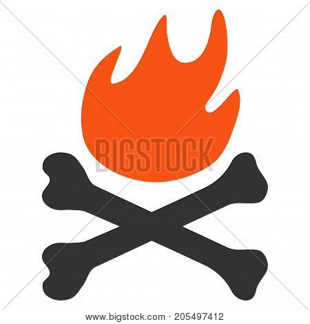 Bones Hell Fire flat vector illustration. An isolated illustration on a white background.