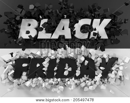 black friday text and exploding background.d illustration. suitable for any blackfriday theme.