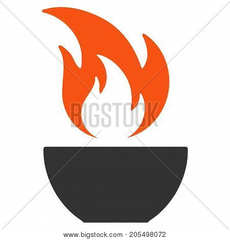 Fire Bowl flat vector pictograph. An isolated illustration on a white background.