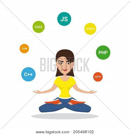 Picture of a smart programmer girl, joggling with programming languages and technologies, cartoon character illustration isolated on white background