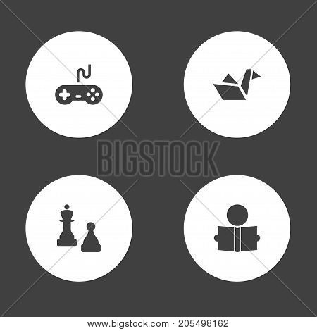 Collection Of Paper Figure, Joystick, Checkmate And Other Elements.  Set Of 4 Entertainment Icons Set.