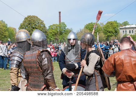 St. Petersburg Russia - May 27 2017: Preparing fighters for demonstration of sword fighting. Historical reconstruction of the battle in St. Petersburg Russia