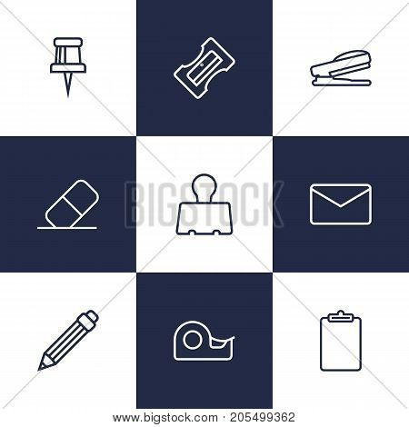 Collection Of Puncher, Mail, Sticky And Other Elements.  Set Of 9 Instruments Outline Icons Set.