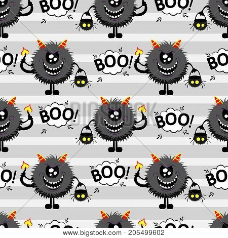 Abstract seamless pattern for girls or boys. Creative vector background with fluffy monster with horns and a tail basket for sweets in the form of a skull halloween. Funny wallpaper for textile. Halloweeen pattern. Cute kids pattern. Halloween boo pattern