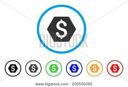 Finance rounded icon. Style is a flat finance grey symbol inside light blue circle with black, gray, green, blue, red, orange color versions. Vector designed for web and software interfaces.