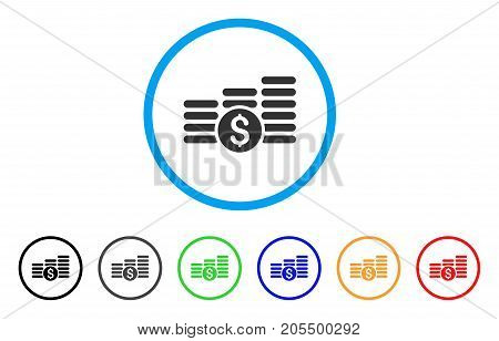 Finances rounded icon. Style is a flat finances gray symbol inside light blue circle with black, gray, green, blue, red, orange versions. Vector designed for web and software interfaces.