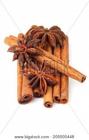 Cinnamon stick and star anise spice isolated closeup.