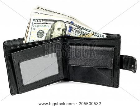 Leather wallet with money on a white background