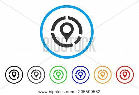 Map Marker Diagram rounded icon. Style is a flat map marker diagram grey symbol inside light blue circle with black, gray, green, blue, red, orange color versions.