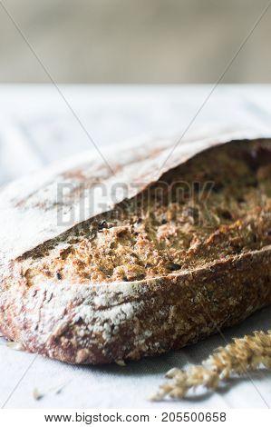 Rye sourdough bread on a kitchen towel