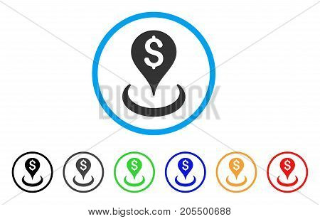 Money Location rounded icon. Style is a flat money location gray symbol inside light blue circle with black, gray, green, blue, red, orange versions. Vector designed for web and software interfaces.