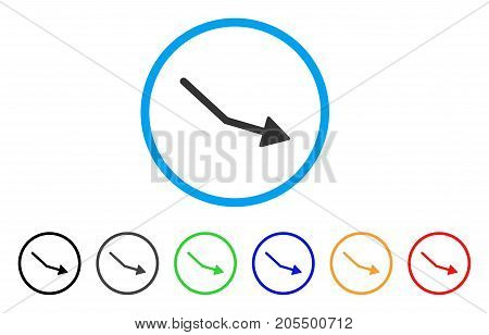 Negative Trend Arrow rounded icon. Style is a flat negative trend arrow grey symbol inside light blue circle with black, gray, green, blue, red, orange variants.