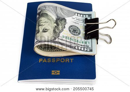 Money passport travel to any country on a white background