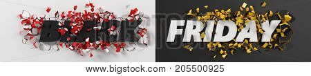 black friday header with text and exploding background. 3d illustration. with red and white inner pieces.suitable for any black friday theme.
