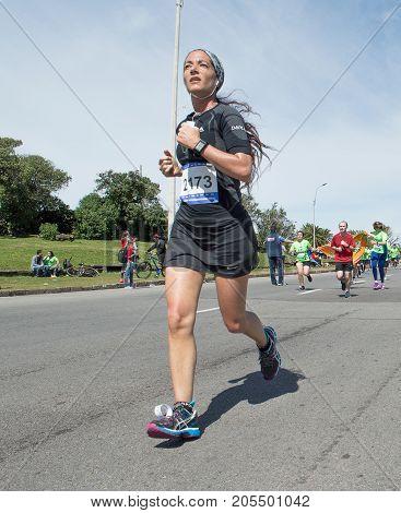 MONTEVIDEO, URUGUAY - SEPTEMBER 24: runner in the Global Energy race.