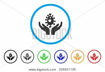 Biotechnology rounded icon. Style is a flat biotechnology grey symbol inside light blue circle with black, gray, green, blue, red, orange variants. Vector designed for web and software interfaces.