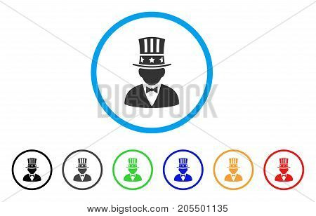 Capitalist rounded icon. Style is a flat capitalist grey symbol inside light blue circle with black, gray, green, blue, red, orange variants. Vector designed for web and software interfaces.