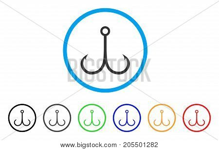 Double Fishing Hook rounded icon. Style is a flat double fishing hook grey symbol inside light blue circle with black, gray, green, blue, red, orange color versions.