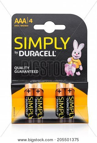 LONDONUK - SEPTEMBER 24 2017: Pack of AAA Duracell Batteries Duracell is an American brand of batteries and smart power solutions manufactured by Procter & Gamble