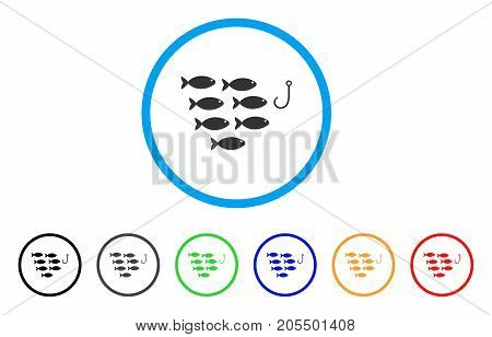 Fish Hook rounded icon. Style is a flat fish hook grey symbol inside light blue circle with black, gray, green, blue, red, orange variants. Vector designed for web and software interfaces.