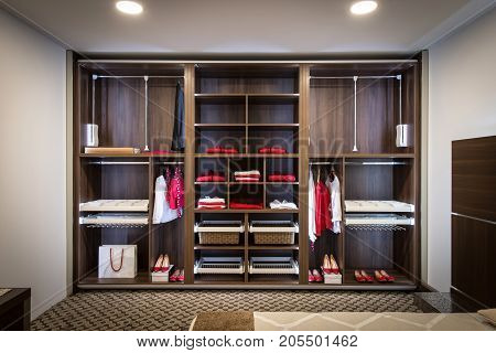 Built In Closet With Warderobe In Home Interior