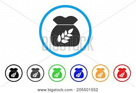 Grain Harvest rounded icon. Style is a flat grain harvest grey symbol inside light blue circle with black, gray, green, blue, red, orange versions. Vector designed for web and software interfaces.