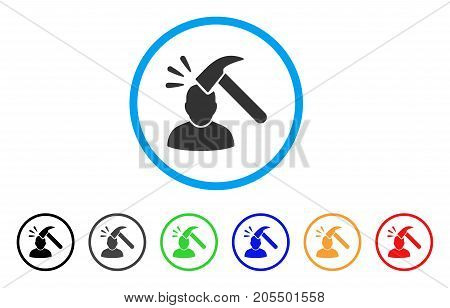 Head Shock rounded icon. Style is a flat head shock gray symbol inside light blue circle with black, gray, green, blue, red, orange color versions. Vector designed for web and software interfaces.