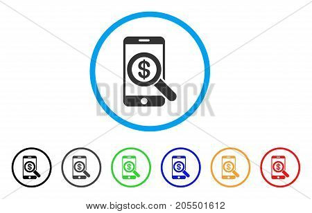Mobile Audit rounded icon. Style is a flat mobile audit gray symbol inside light blue circle with black, gray, green, blue, red, orange color versions. Vector designed for web and software interfaces.